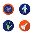 the alien s hand the space shuttle ship space vector image