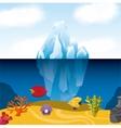 Tropical fish and iceberg icon Sea life design vector image