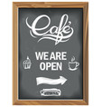 vintage chalkboard with cafe open vector image