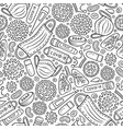 viruses hand drawn doodles seamless pattern vector image vector image