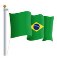 waving brasil flag isolated on a white background vector image vector image
