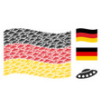 waving germany flag collage of ufo icons vector image vector image