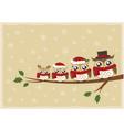 owl family christmas greeting vector image