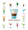 set of alcoholic cocktails fruit cold drinks vector image