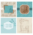 set of floral retro cards vector image