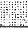 100 tourism icons set simple style vector image vector image