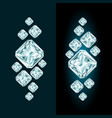 abstract diamond composition with and without glow vector image