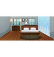 bedroom scene with wooden bed vector image vector image