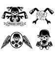 biker theme labels with pistonsflowerswingssnakes vector image vector image