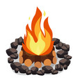 bonfire burning woodpile and round of stones vector image