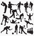 bowling silhouettes vector image vector image