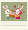 cartoon happy easter couple bunny basket egg vector image