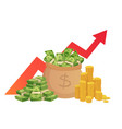 cartoon savings value growth money profit vector image vector image
