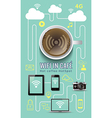 Coffee shop wifi infographic concept with icons vector image vector image