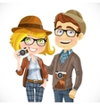 Couple of hipsters in hats with a camera isolated vector image vector image