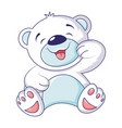 Cute white bear icon cartoon style