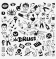 drugs doodles set vector image vector image