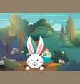 easter bunny in forest vector image vector image