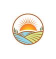 farm nature landscape logo vector image vector image