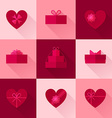 Flat red gift box in the form of heart icon set vector image vector image