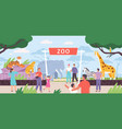 flat zoo entrance gates with visitor family vector image