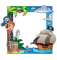frame with sea and pirate theme 3 vector image vector image