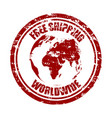 free shipping worldwide rubber stamp texture vector image vector image