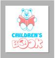 Funny teddy bear reading a book 2 vector image