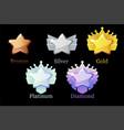 game rank reward star gold silver platinum vector image vector image