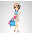 Girl In Hat With Shopping Bags vector image vector image