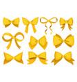 gold bow set cartoon yellow luxury design vector image vector image