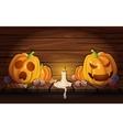 Halloween Pumpkins In Wooden Barn Composition vector image vector image