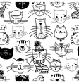 hand drawn funny cats pattern vector image vector image