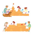 happy family playing on beach and children vector image vector image