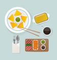 healthy breakfast food top view vector image vector image