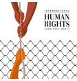human rights day card of people help concept vector image vector image