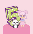 kawaii girl with cute animal vector image vector image