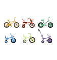 kids bicycles collection childrens colorful bikes vector image vector image