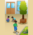kids playing outdoors vector image
