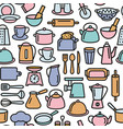 kitchen tools pattern cooking set kitchenware vector image vector image