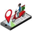 location pin on mobile application icon vector image
