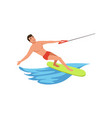 man riding wakeboard water skiing water sport vector image