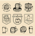 old brewery logos set kraft beer retro signs or vector image vector image