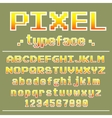 Pixel font 8 bit typeface for retro games design vector image