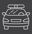 Police car line icon transport and automobile