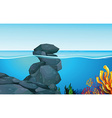 Scene with rocks under the ocean vector image vector image