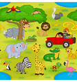 seamless pattern with animals in safari vector image
