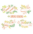 set color spring ribbons with leaves vector image vector image