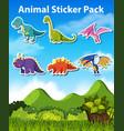 set dinosaur sticker vector image vector image