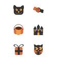 set icons trick or treat happy halloween vector image